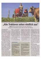 Zeitungsbericht über Traktorausflug und Traktorsegnungen: Alte Traktoren sehen niedlich aus